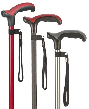 Exclusive light metal walking sticks with Derby grip Comfort Soft - 100 kg