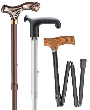 Foldable travel walking sticks with Fritz grip & soft grip - 100 kg